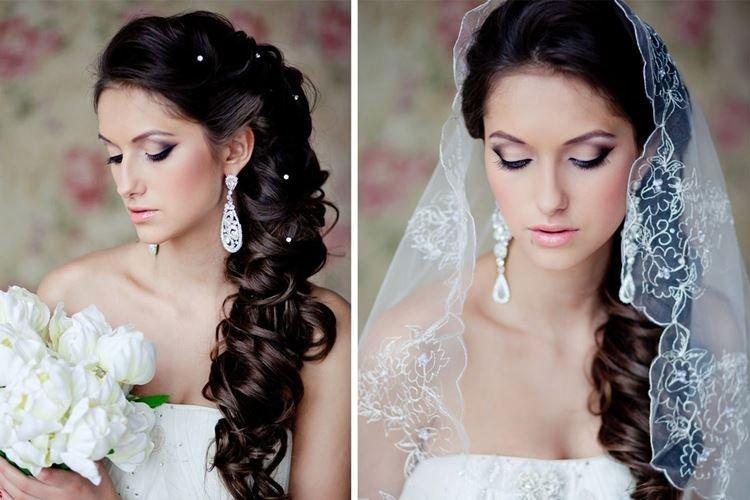 Elegancka fryzura Cape Veil - fryzury ślubne dla długich włosów